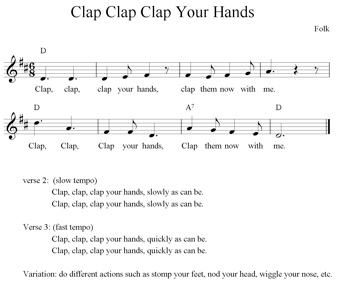 Action Songs C g if you're happy and you know it clap your hands (clap clap). toddler folk